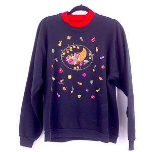Vintage thanksgiving sweater cornucopia large gran